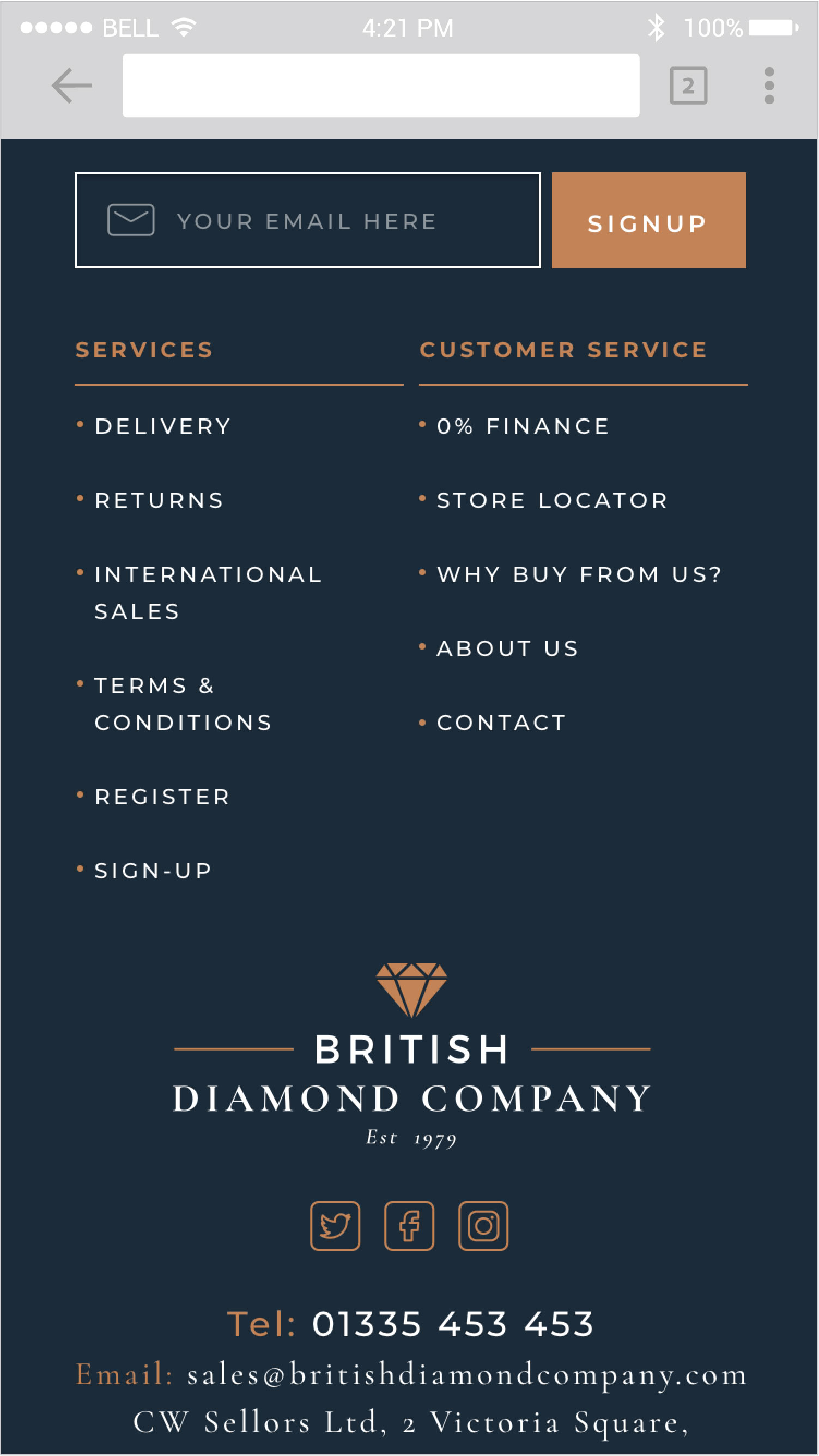 The British Diamond Company Footer